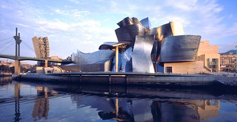 View of the Guggenheim Museum Bilbao from the river. Photo: David Heald
